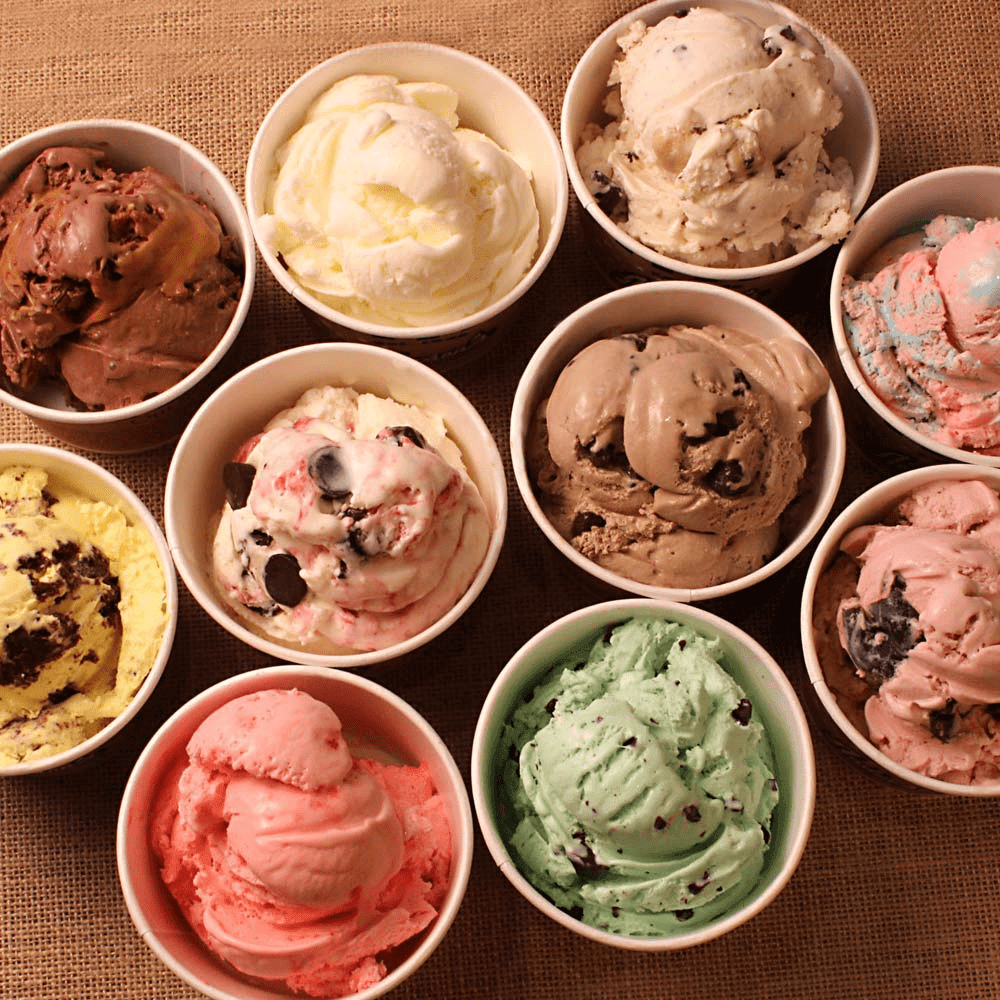 scooped ice cream in dishes