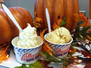 Pumpkin custard and hard ice cream