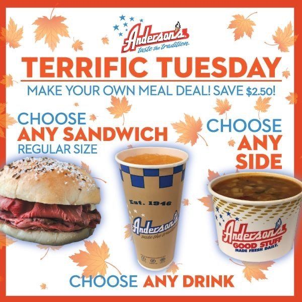 Tuesday Meal Deal every Tuesday - choose a sandwich, side and any drink