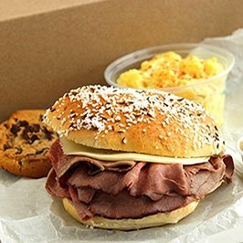 roast beef on weck in a boxed lunch