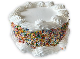 small round cake with sprinkles