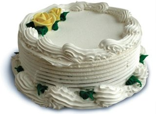small round cake with flowers
